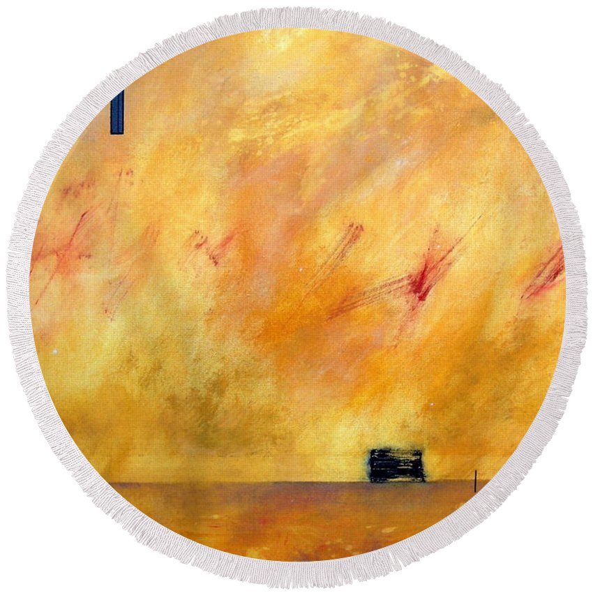 Sky Round Beach Towel featuring the painting Sky Dancers by Rose Lynch