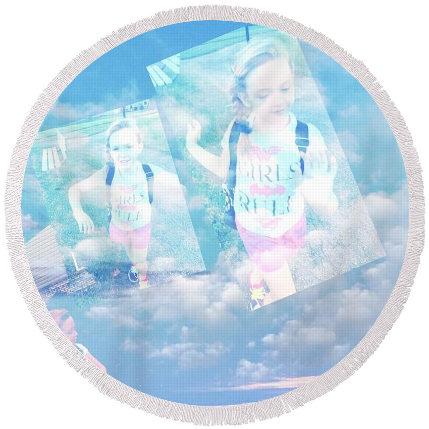 Round Beach Towel featuring the digital art Sky Dancing by Keevay Stierwalt