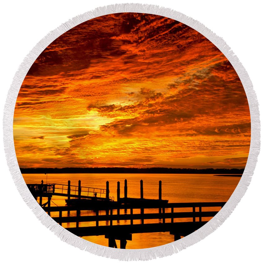 Landscape Round Beach Towel featuring the photograph Sky Drama by Phill Doherty