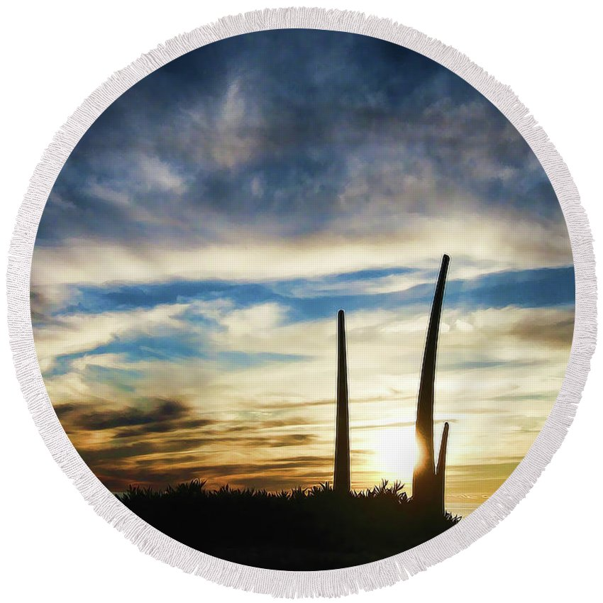 Sunset Round Beach Towel featuring the photograph Sky Fingers by Douglas Barnard