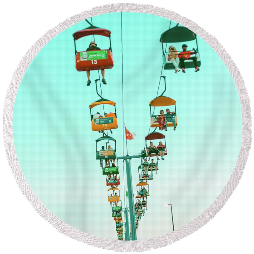 State Fair Round Beach Towel featuring the photograph Sky Gliders Over Crowd by Vincent Buckley
