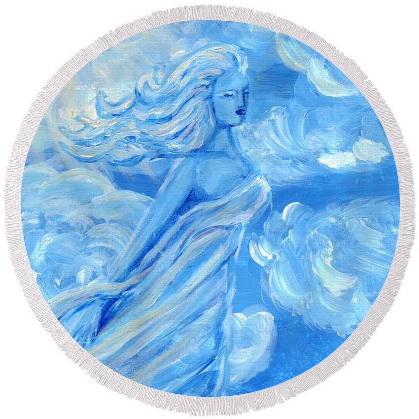 Goddess Round Beach Towel featuring the painting Sky Goddess by Cassandra Geernaert