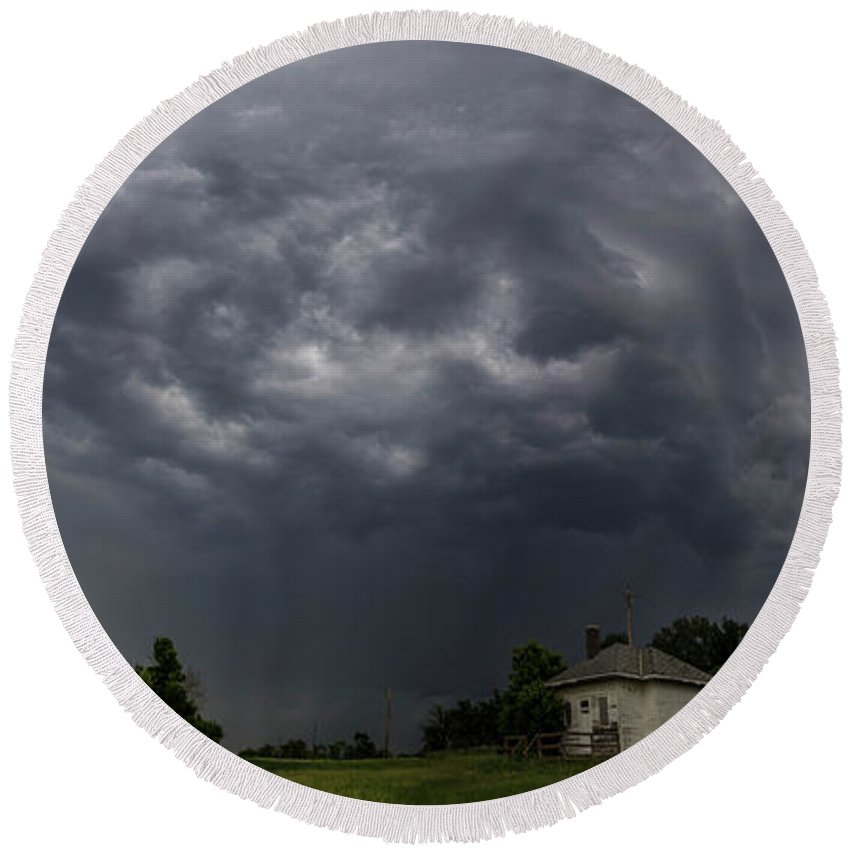 Tornado Watch Round Beach Towel featuring the photograph Sky Monster by Aaron J Groen