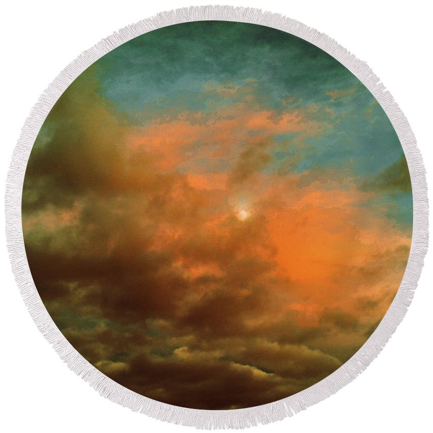 Mccarthy Art Round Beach Towel featuring the photograph Sky Moods - When The Moons Behind The Clouds by Glenn McCarthy Art and Photography