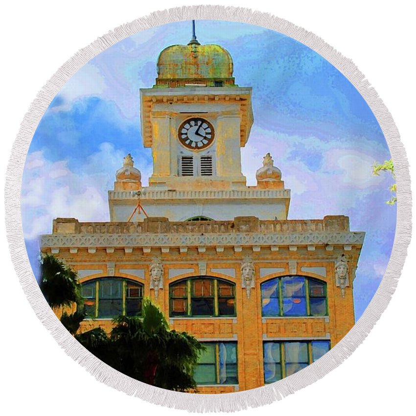 City Hall Round Beach Towel featuring the photograph Sky Of The Hall by Jost Houk