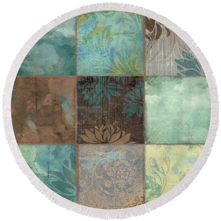 Sky Round Beach Towel featuring the painting Sky Patches I by Mindy Sommers