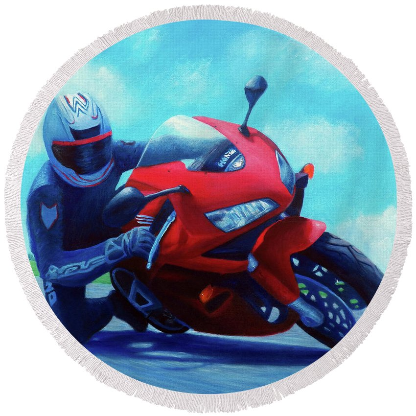 Motorcycle Round Beach Towel featuring the painting Sky Pilot - Honda Cbr600 by Brian Commerford