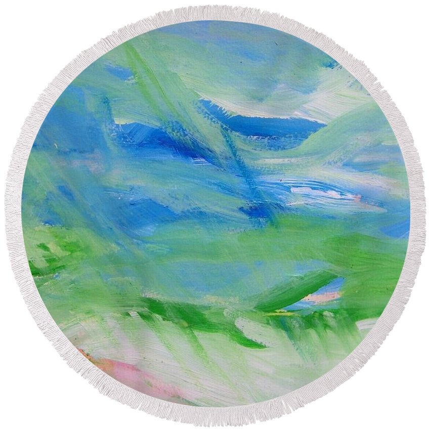 Abstract Round Beach Towel featuring the painting Skyland by Judith Redman