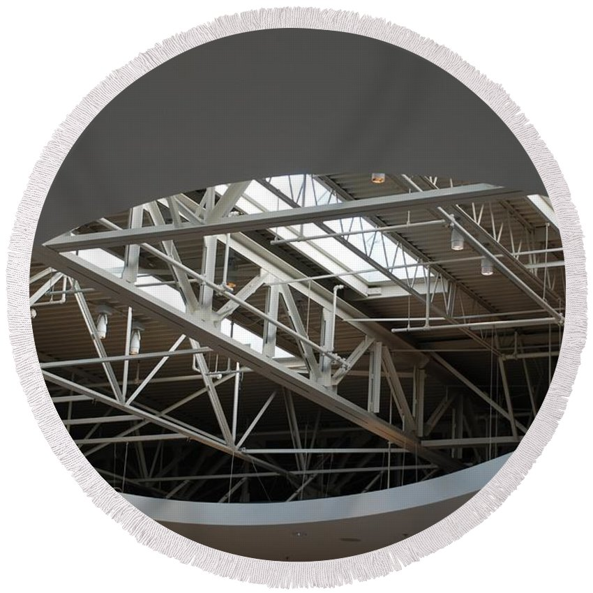 Ceiling Round Beach Towel featuring the photograph Skylight Gurders by Rob Hans