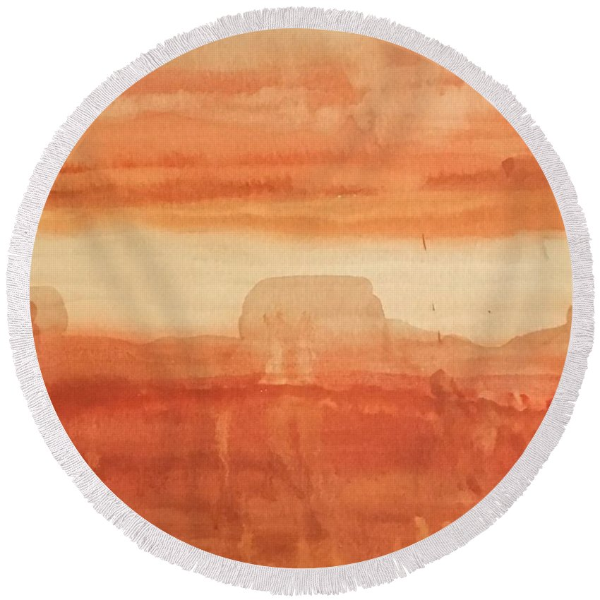 Landscape Round Beach Towel featuring the painting Skyline by Karla Calaca