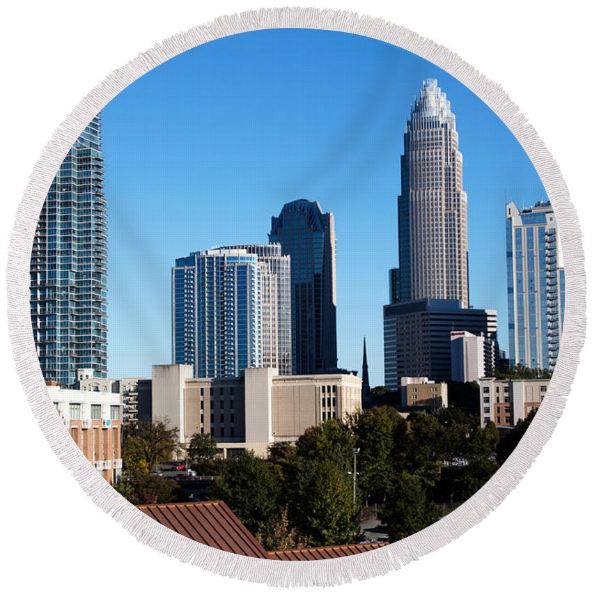 Charlotte Round Beach Towel featuring the photograph Skyline Of Charlotte North Carolina by Bill Cobb