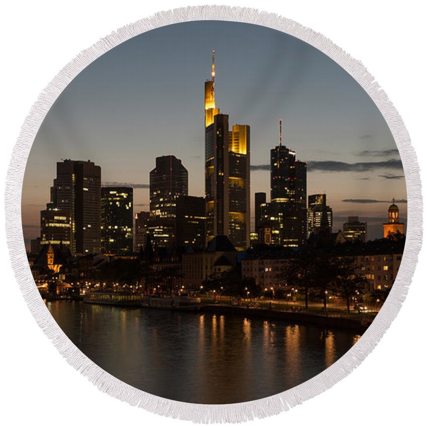 Central Europe Round Beach Towel featuring the photograph Skyline Of Frankfurt City In Twilight by Michalakis Ppalis