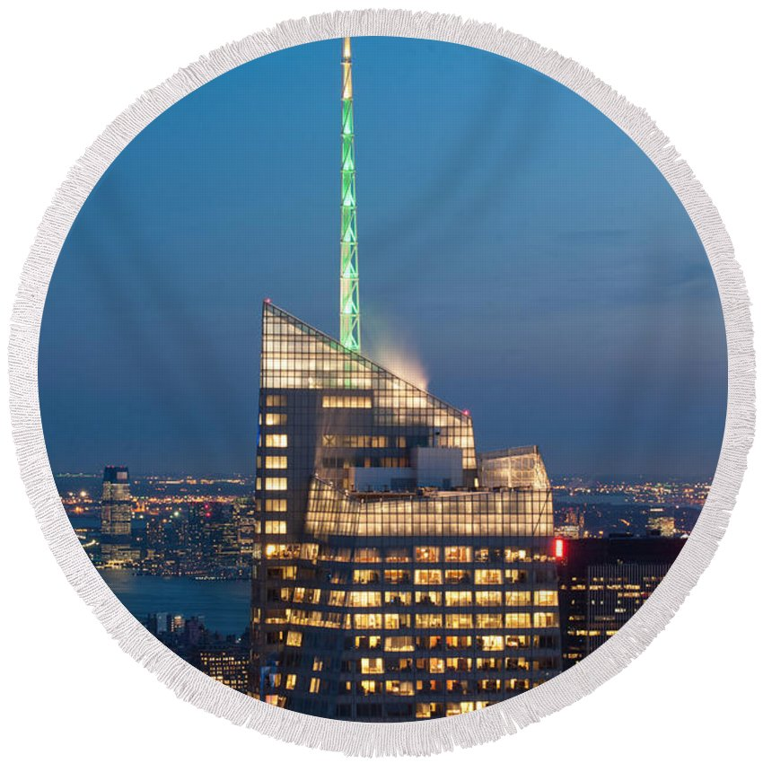 Photography Round Beach Towel featuring the photograph Skyscraper Lit Up At Night, One World by Panoramic Images