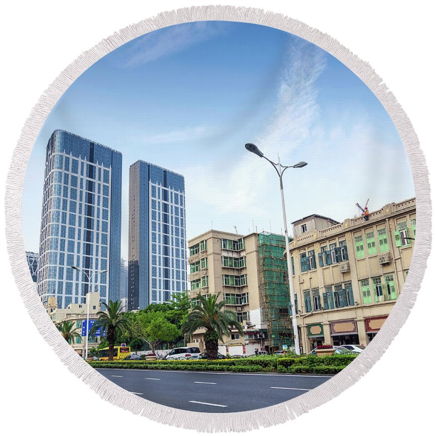 Architecture Round Beach Towel featuring the photograph Skyscrapers And Road In Downtown Xiamen City China by Jacek Malipan