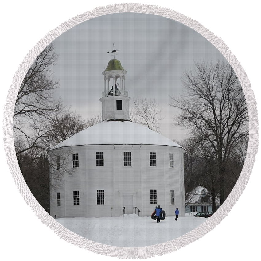 New England Round Beach Towel featuring the photograph Sledding by Susan Russo