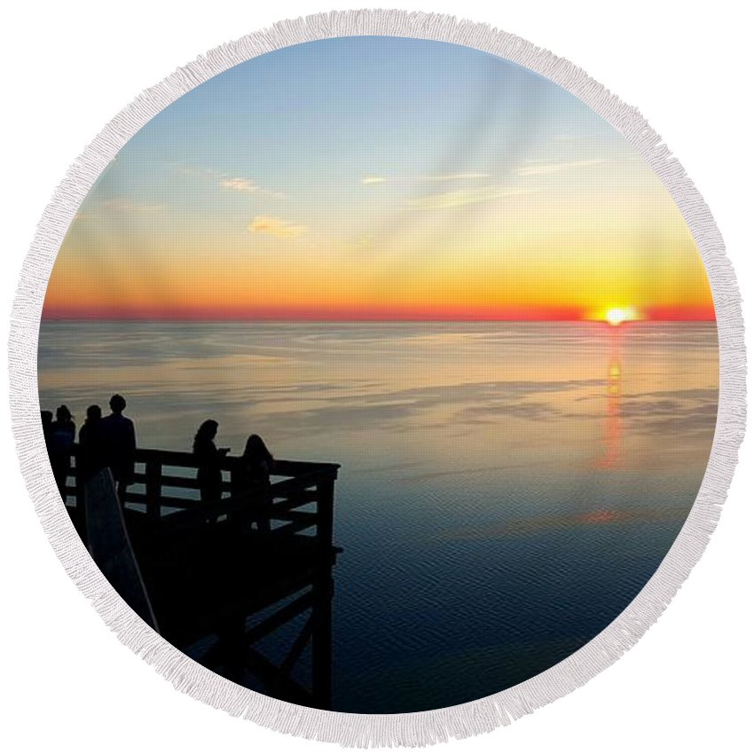 Sunset Round Beach Towel featuring the photograph Sleeping Bear Sunset 02 by William Slider