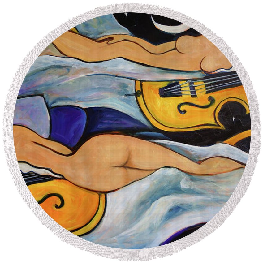 Musicians Round Beach Towel featuring the painting Sleeping Cellists by Valerie Vescovi