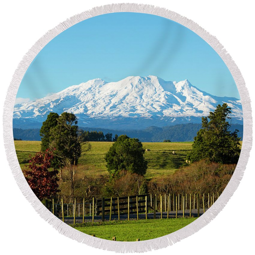 Mount Ruapehu Round Beach Towel featuring the photograph Sleeping Giant by Photopoint Art
