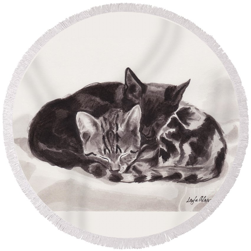Layla Alexander Round Beach Towel featuring the painting Sleeping Kittens by Layla Alexander
