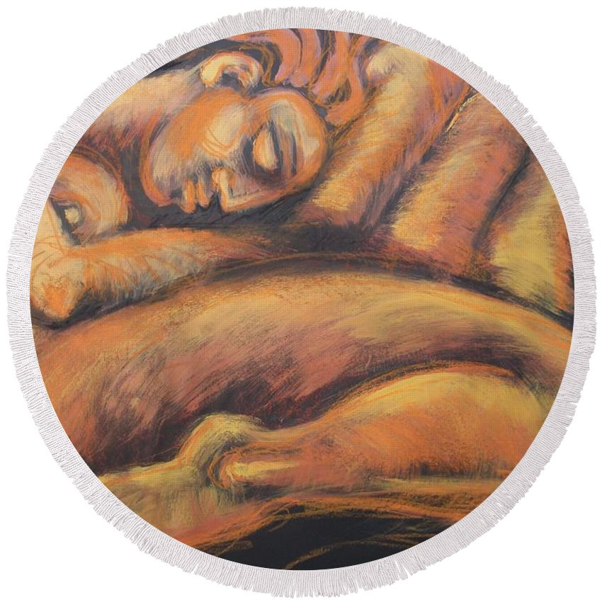 Sleeping Nymph3 Round Beach Towel featuring the painting Sleeping Nymph3 by Carmen Tyrrell