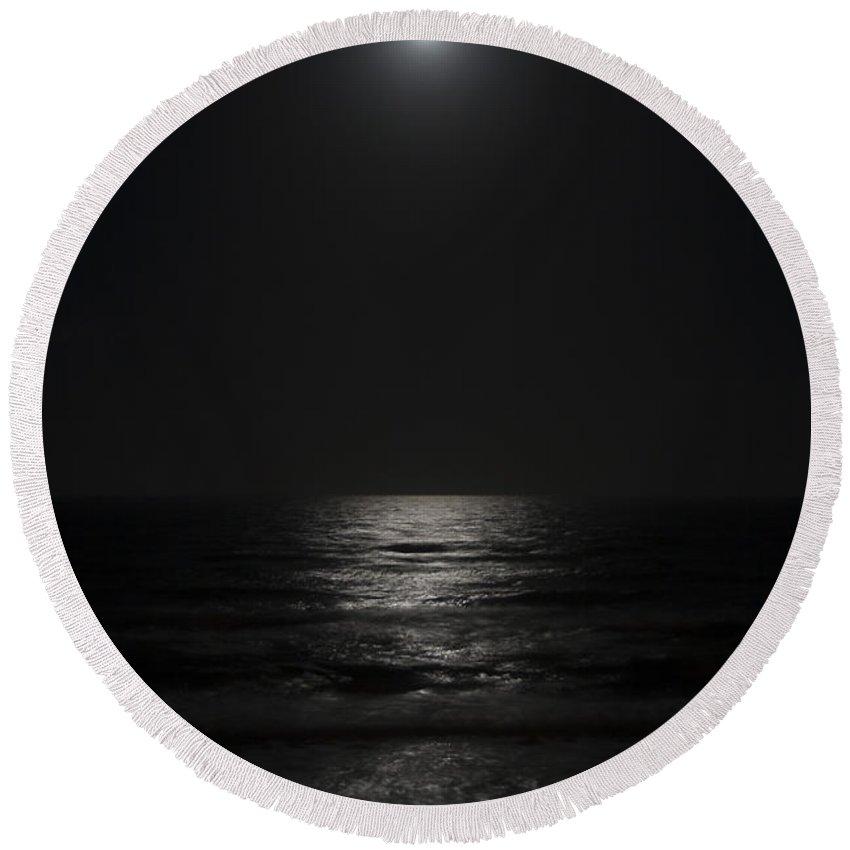 Beach Night Moon Light Wave Waves Water Ocean Sea Dark Bright Reflect Reflection Round Beach Towel featuring the photograph Sleepless Night by Andrei Shliakhau