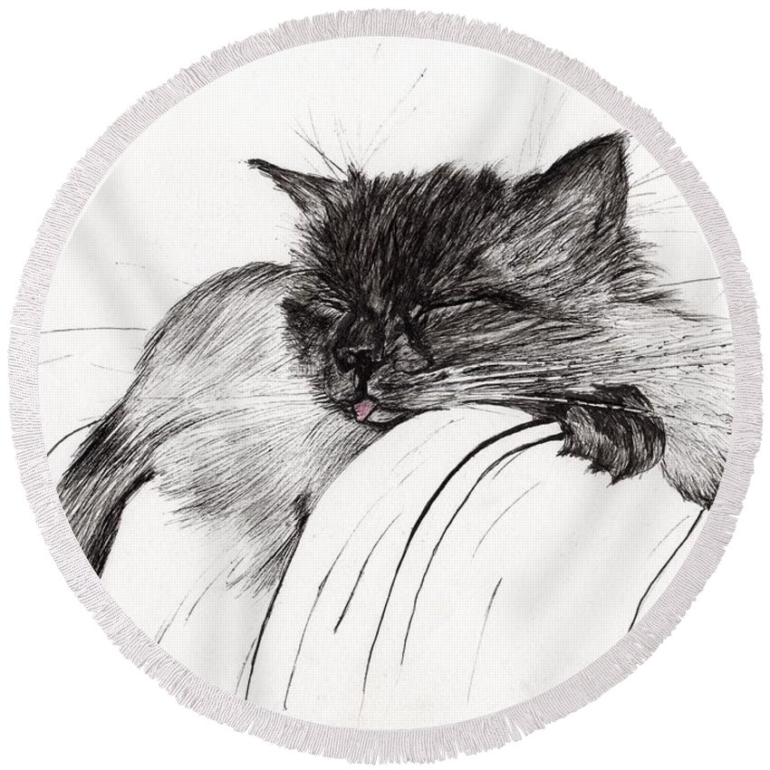 Cat Round Beach Towel featuring the drawing Sleepy Baby by Vincent Alexander Booth