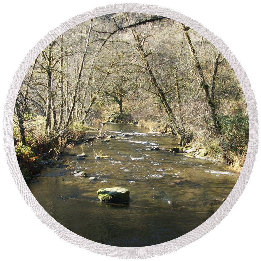 River Round Beach Towel featuring the photograph Sleepy Creek by Shari Chavira
