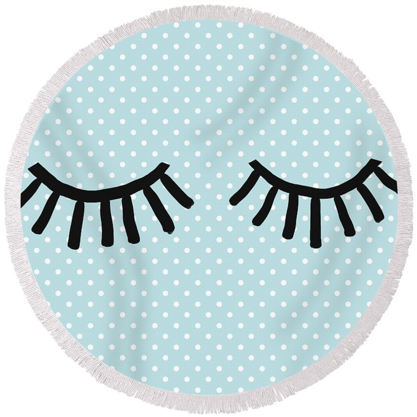 Eyes Round Beach Towel featuring the mixed media Sleepy Eyes And Polka Dots Blue- Art By Linda Woods by Linda Woods