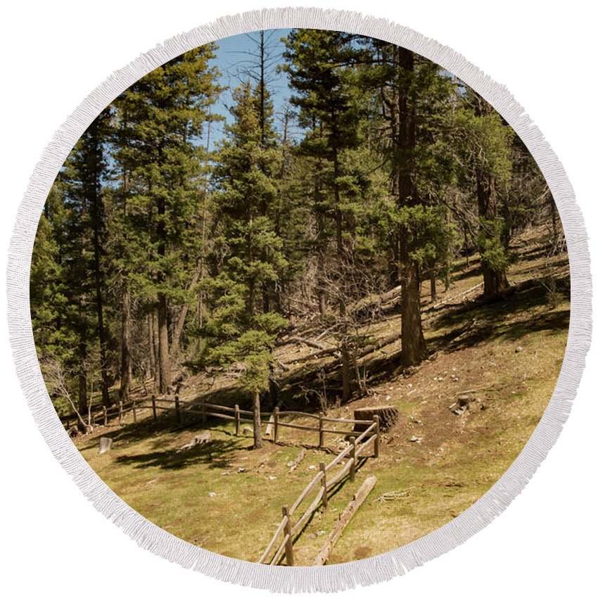 Lincoln National Forest Round Beach Towel featuring the photograph Sleepy Grass Picnic Area by Bob Phillips