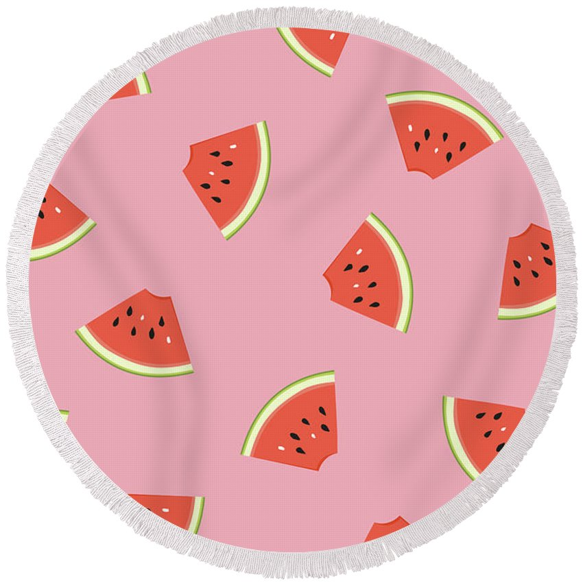Melon Round Beach Towels