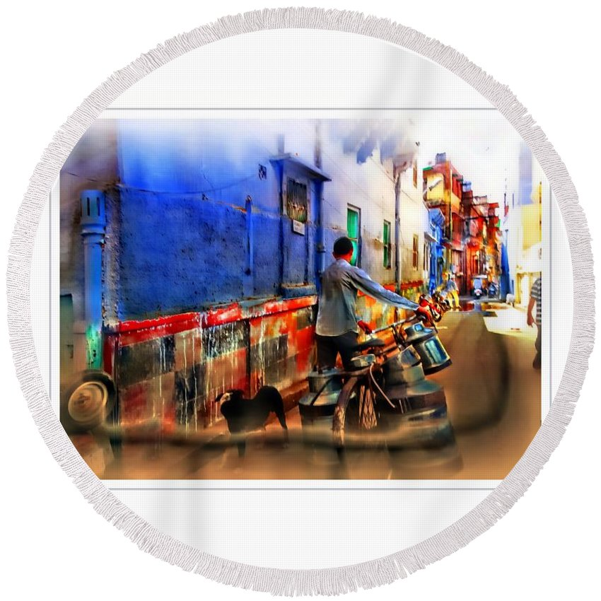 Milkman Round Beach Towel featuring the photograph Slice Of Life Milkman Blue City Houses India Rajasthan 1a by Sue Jacobi