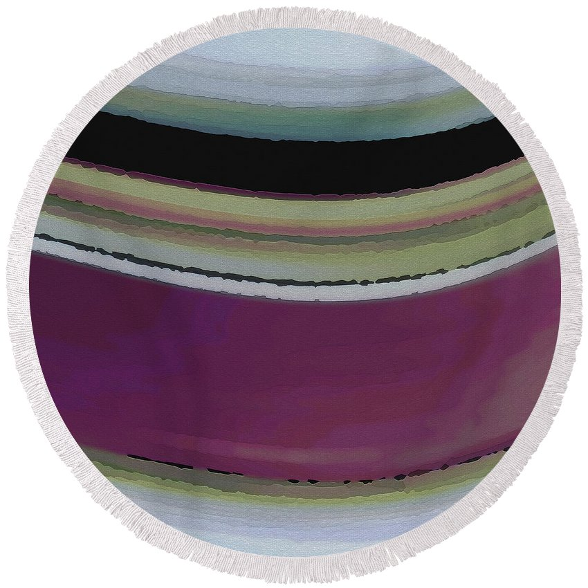 Abstract Round Beach Towel featuring the digital art Slight Curve by Ruth Palmer