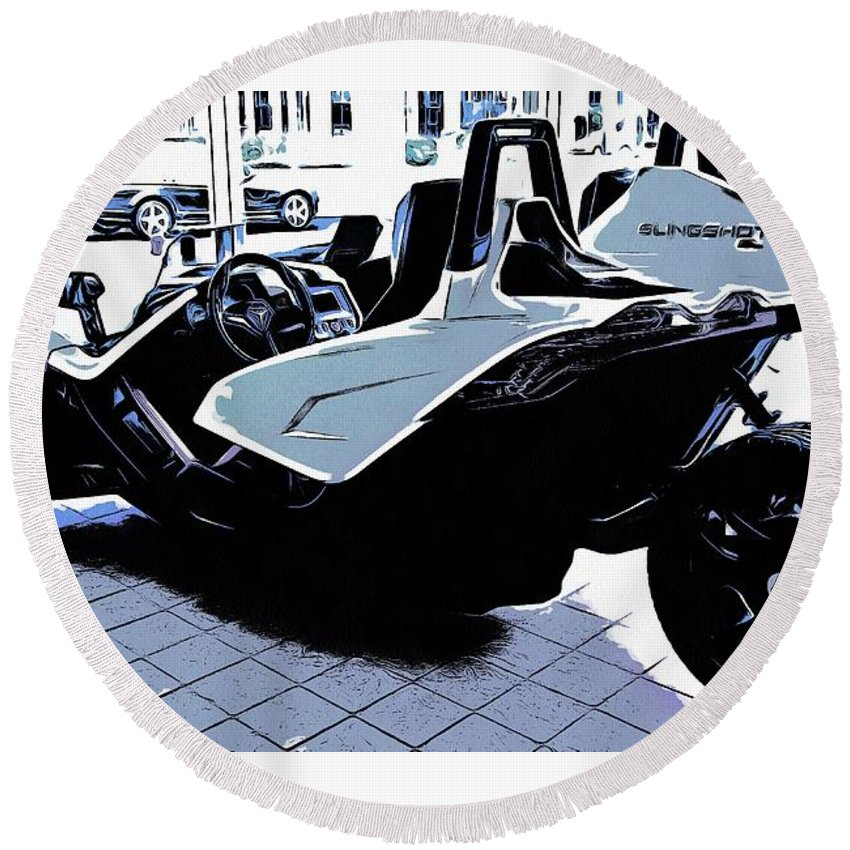 Car Round Beach Towel featuring the digital art Slingshot Race Car Back by Marco De Mooy