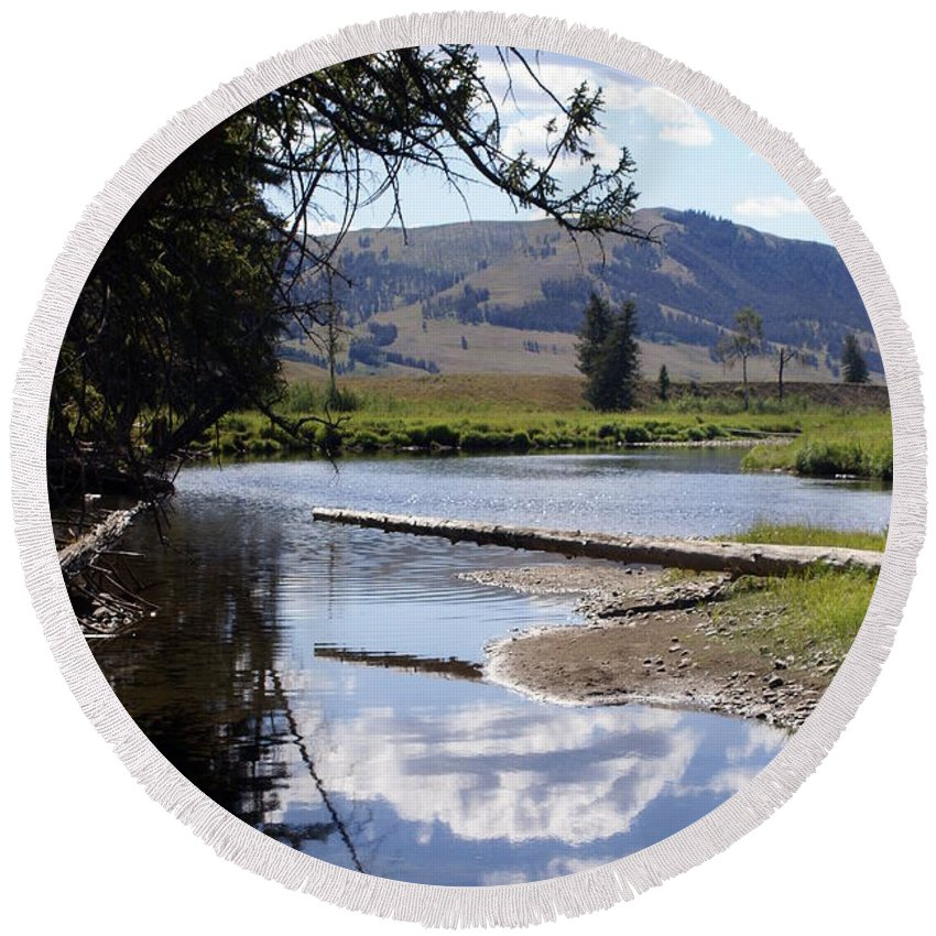 Slough Creek Round Beach Towel featuring the photograph Slough Creek 1 by Marty Koch