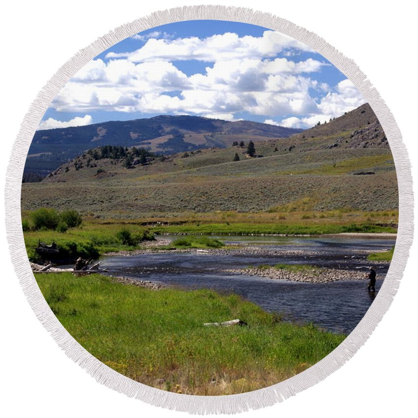 Yellowston National Park Round Beach Towel featuring the photograph Slough Creek Angler by Marty Koch
