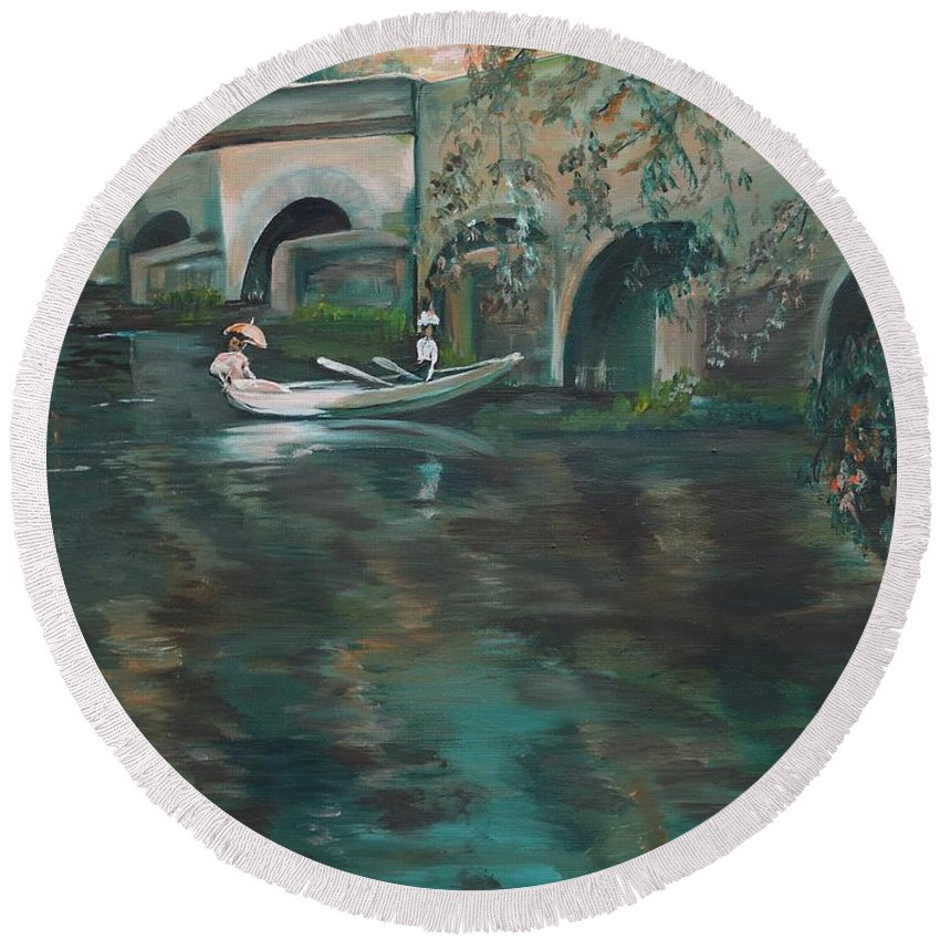 River Round Beach Towel featuring the painting Slow Boat - Lmj by Ruth Kamenev