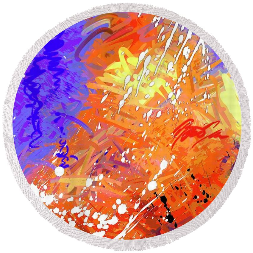 Abstract Round Beach Towel featuring the digital art Slow Burn by Snake Jagger
