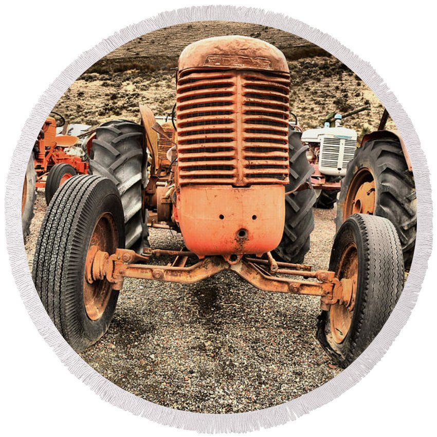 Tractor Round Beach Towel featuring the photograph Slow Rural Decay by Jeff Swan