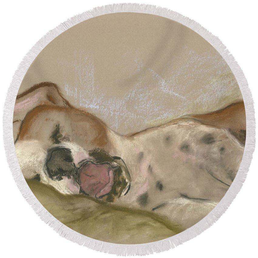 Dog Round Beach Towel featuring the drawing Slumbering Grace by Cori Solomon