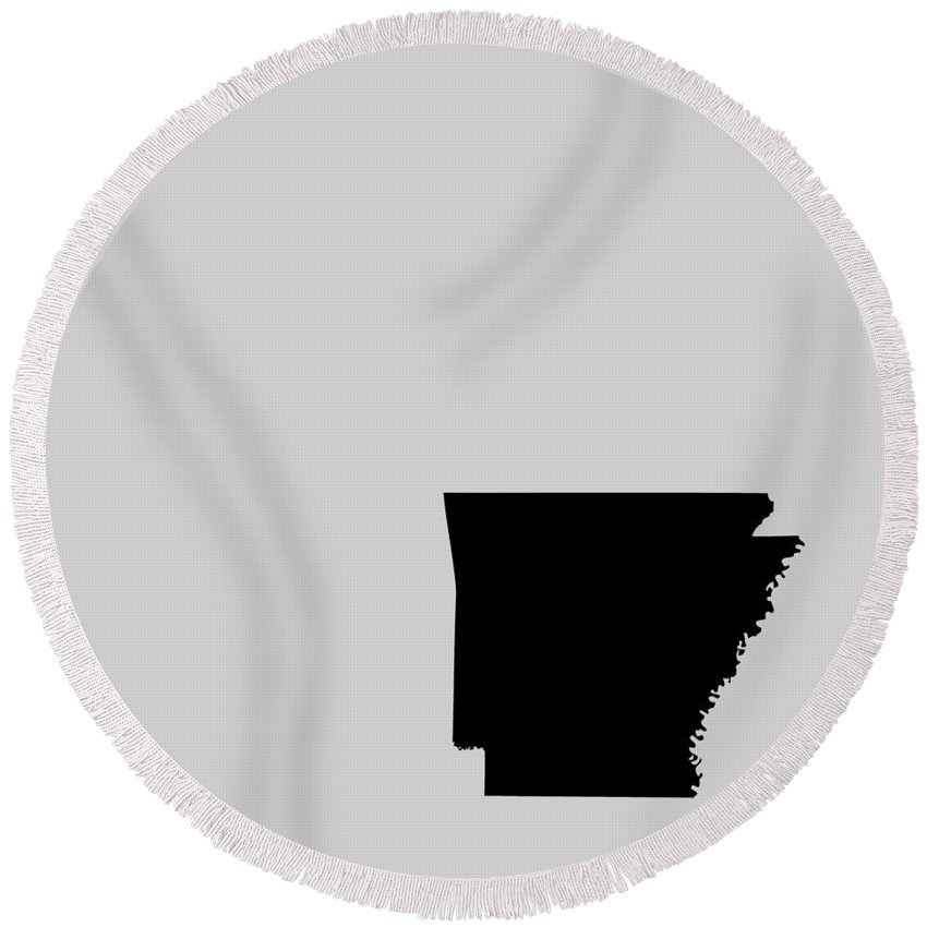 Arkansas Round Beach Towel featuring the digital art Small Arkansas In Black by Custom Home Fashions