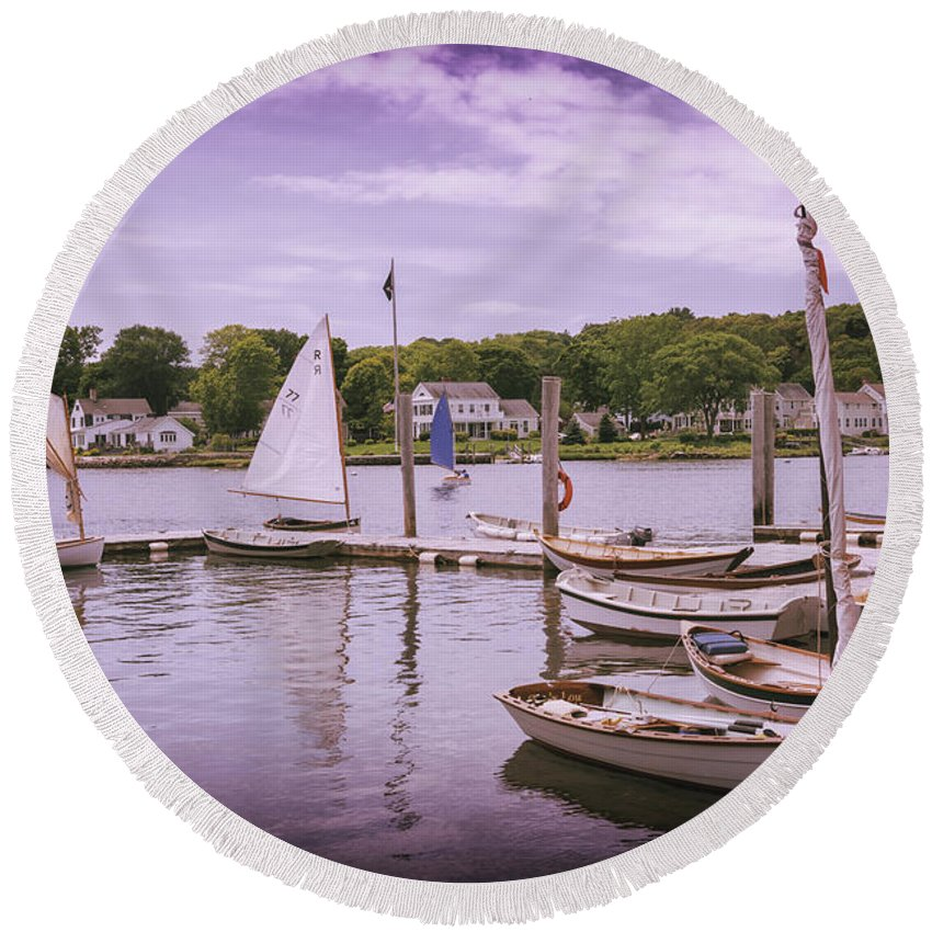 Museum Round Beach Towel featuring the photograph Small Boat Day by Joe Geraci