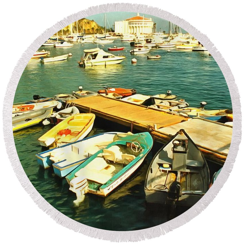 Seascape Round Beach Towel featuring the photograph Small Boat Dock Catalina Island California by Floyd Snyder