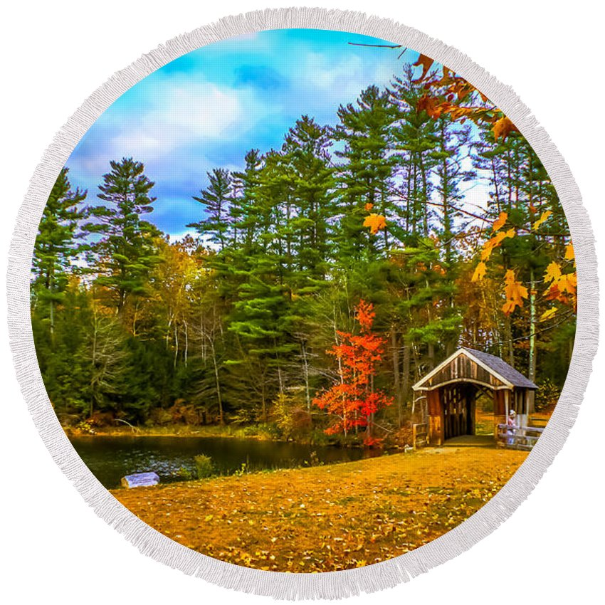 New England Round Beach Towel featuring the photograph Small Covered Bridge by Claudia M Photography