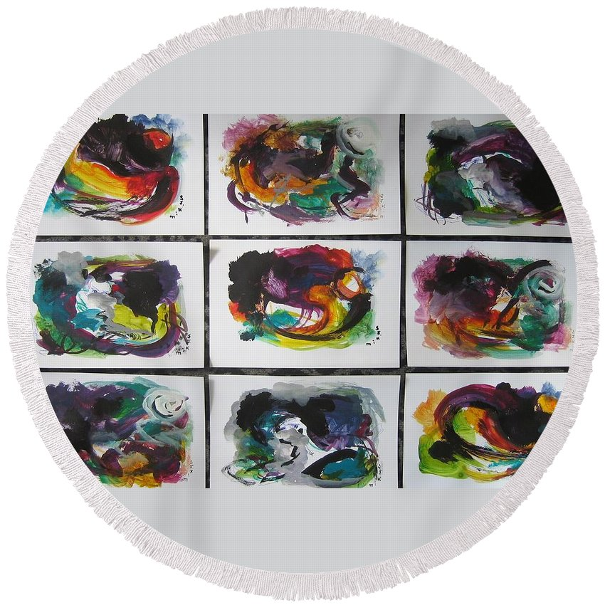 Abstract Paintings Round Beach Towel featuring the painting Small Landscape4 by Seon-Jeong Kim