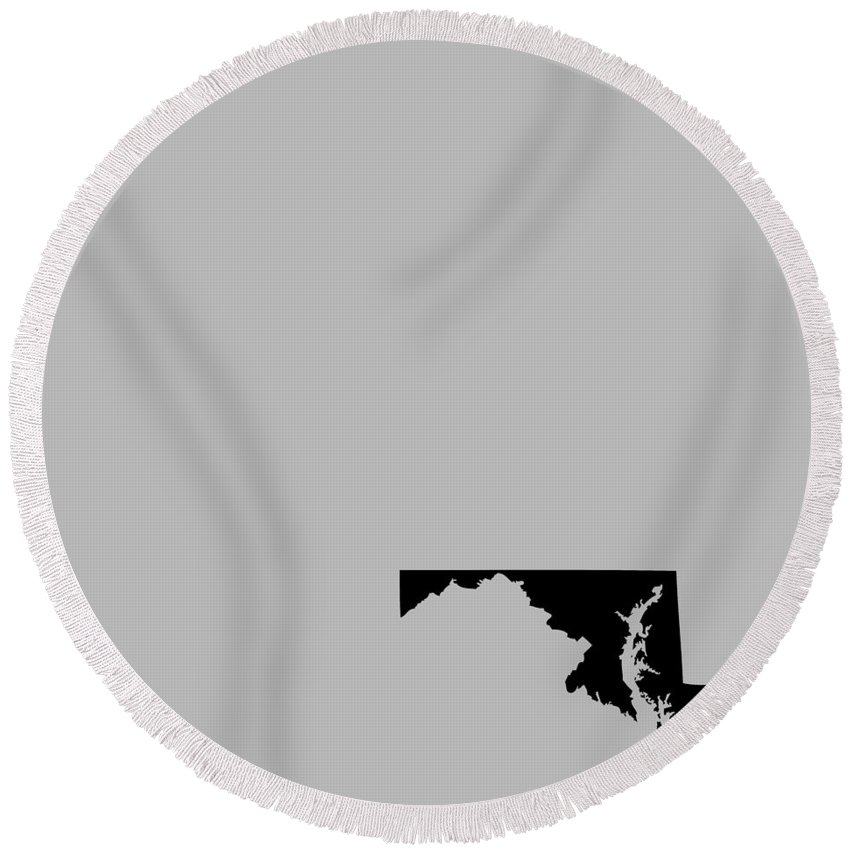 Maryland Round Beach Towel featuring the digital art Small Maryland In Black by Custom Home Fashions