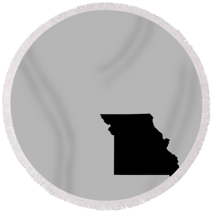 Missouri Round Beach Towel featuring the digital art Small Missouri In Black by Custom Home Fashions