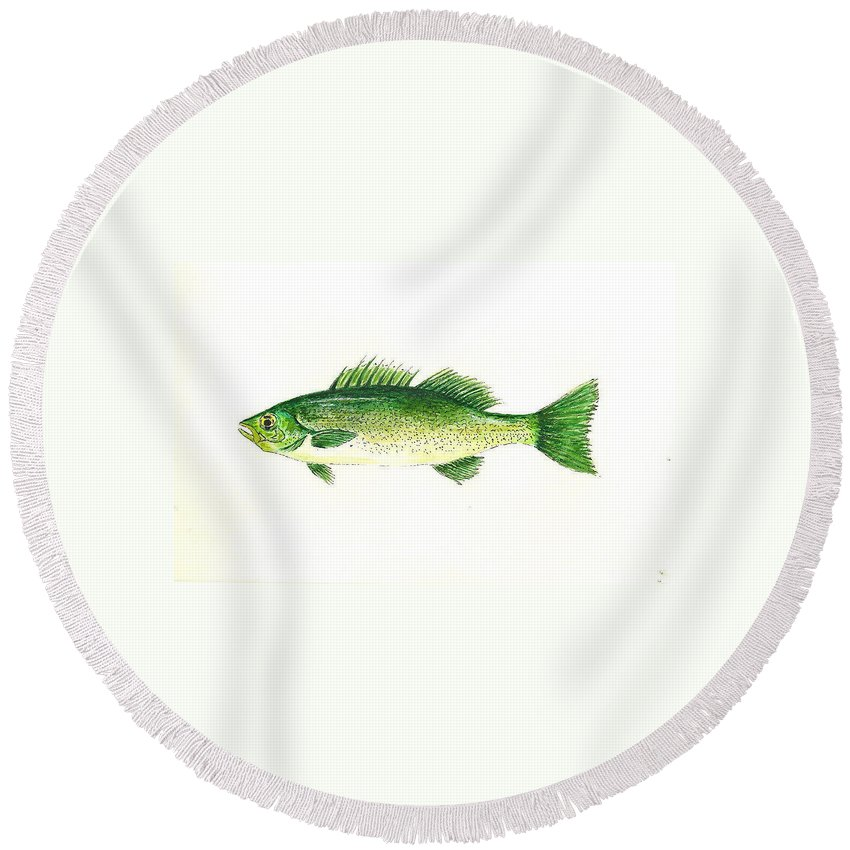 Fish Round Beach Towel featuring the painting Small Mouth Bass by Michael Vigliotti