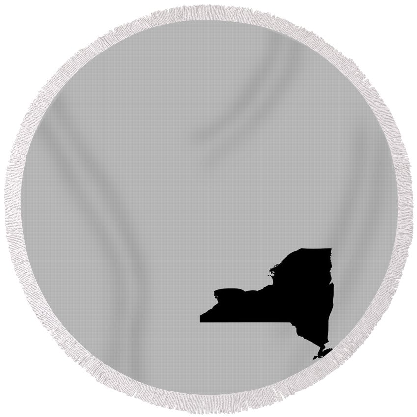 New York Round Beach Towel featuring the digital art Small New York In Black by Custom Home Fashions