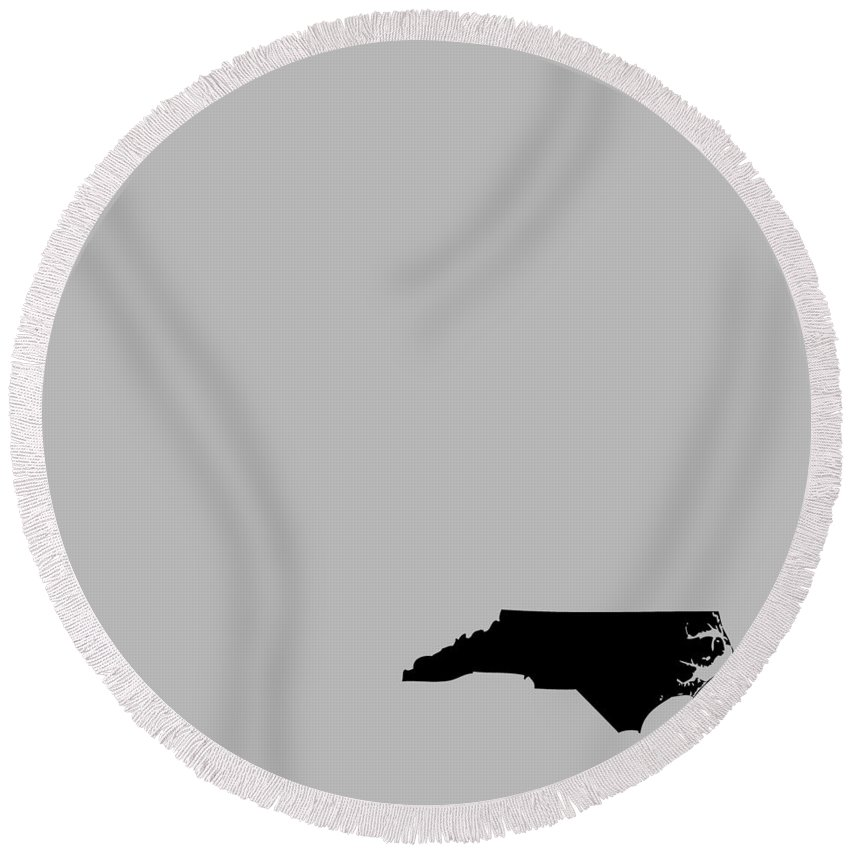 North Carolina Round Beach Towel featuring the digital art Small North Carolina In Black by Custom Home Fashions