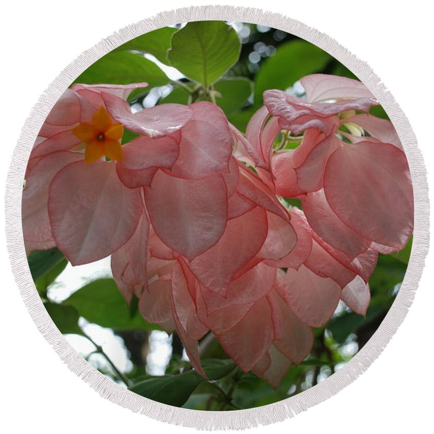 Orange Round Beach Towel featuring the photograph Small Orange Flower Pink Heart Leaves by Rob Hans